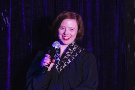 Sarah at An audience with Sarah Gordy