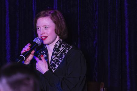 Sarah speaking at An audience with Sarah Gordy