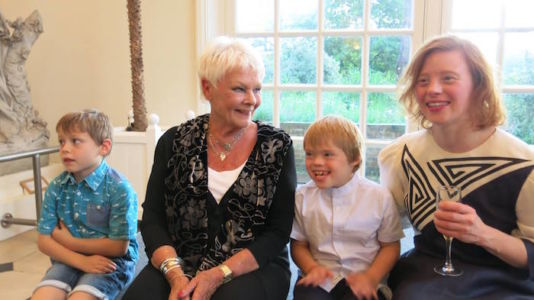Dame Judi Dench with Sarah and competition winners