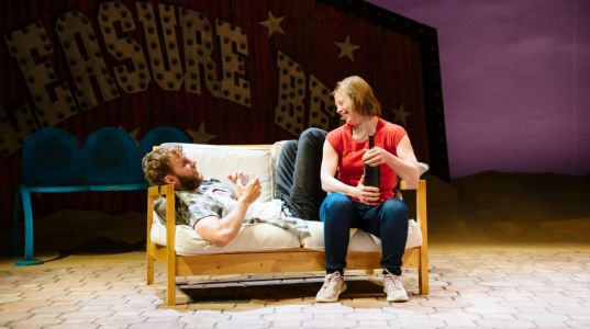 Sion Daniel Young and Sarah Gordy in Jellyfish at The National Theatre