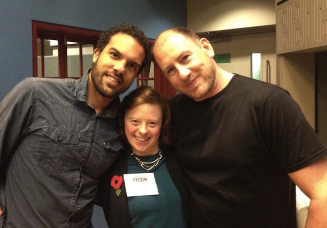 Sarah Gordy, Ben Crowe and O-T Fagbenie in BBC Radio 3 studios