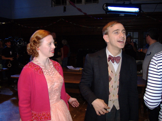 Sarah Gordy and Colin Young behind the scenes of Call The Midwife