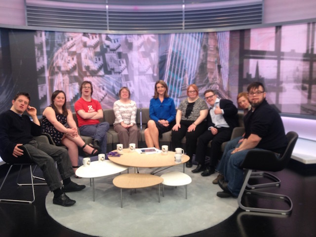 Down's Syndrome discussion panel in the BBC2 studio with Victoria Derbyshire