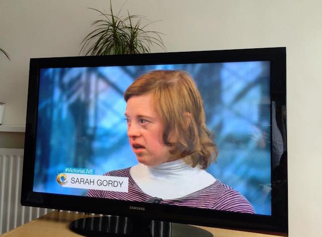 Sarah Gordy on TV in Victoria Derbyshire BBC2