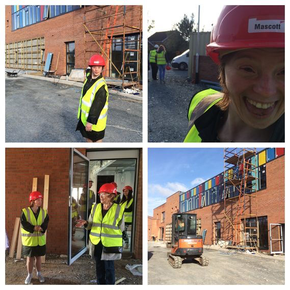 Sarah at building site of new Mencap centre in Belfast