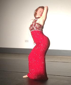 Sarah in sparkly red dress