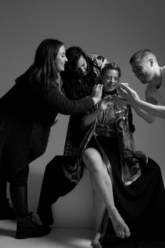 touch ups to make-up and hair behind the scenes at Zuzia Zawada shoot