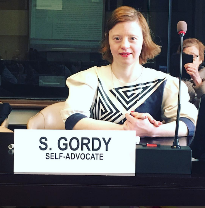 Sarah Gordy speaking at UN #WDSD18